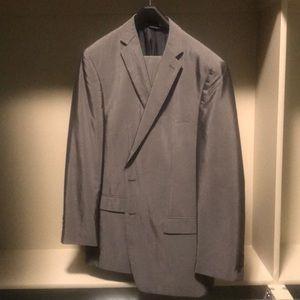 Calvin Klein Polyester Rayon Suit Silver